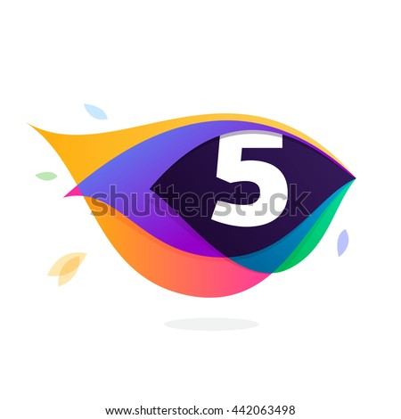 Number five logo in peacock feather icon. Colorful vector design for banner, presentation, web page, app icon, card, labels or posters. - stock vector