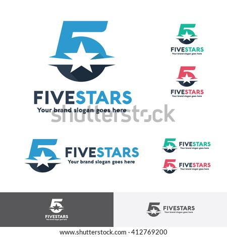Number Five Star Logo Template - stock vector