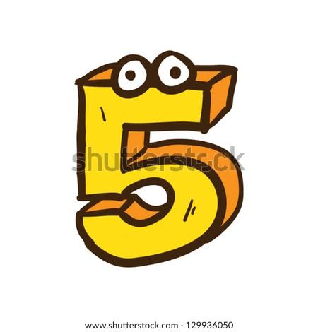 Number Five Vector - stock vector