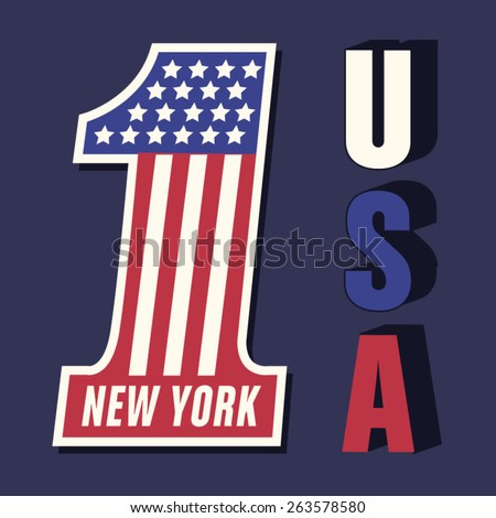Number 1 flag america typography, t-shirt graphics, vectors - stock vector