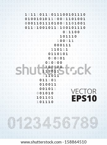 Number 0-9, font from binary code listing, all digits