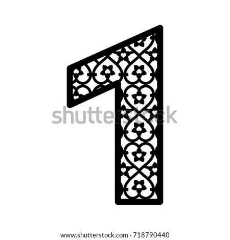 Number 1 Laser Cutting Numeral Character Stock Photo (Photo, Vector ...