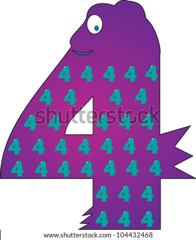 Number 4 from the Crazy Creature Alphabet set, featuring vibrant colors and cute animal characters - stock vector