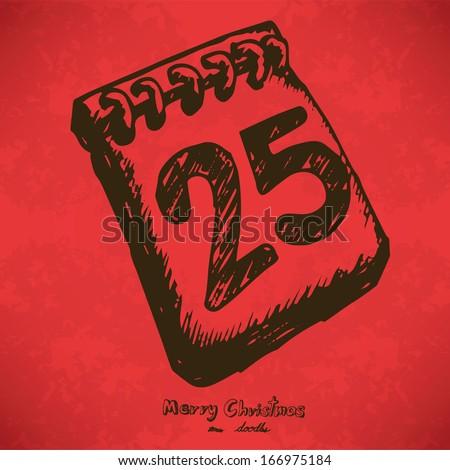 Number 25 Hand drawn outline artwork on red grunge background, Vector Eps10 - stock vector
