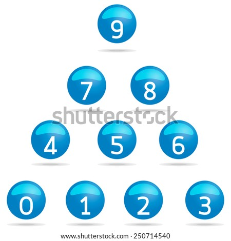 number Icons set in blue drop on white background vector - stock vector