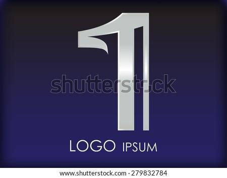 Number logo design.Number one logo.Logo 1 vector template. - stock vector