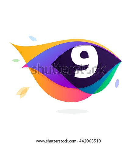 Number nine logo in peacock feather icon. Colorful vector design for banner, presentation, web page, app icon, card, labels or posters. - stock vector