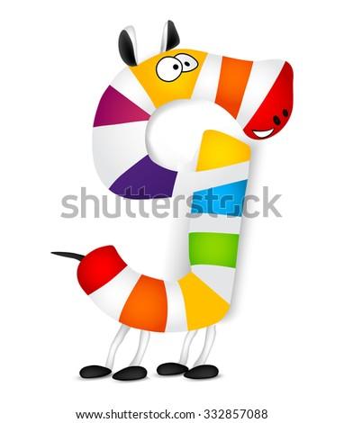 Number nine. Made of colorful animal cartoon rainbow zebra. Vector - stock vector