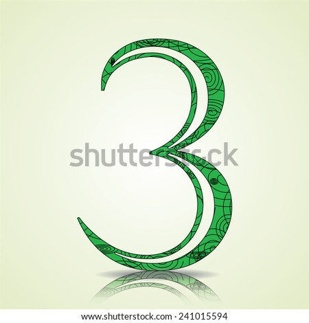 Number of Collection made of swirls - 3 Vector illustration - stock vector