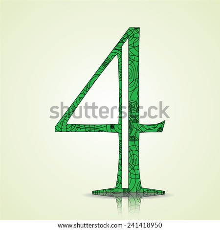 Number of Collection made of swirls - 4 Vector illustration - stock vector