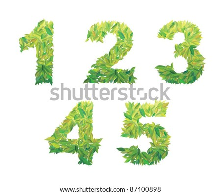 Number of leaves: 1 2 3 4 5 leaves (leafs) of the tree type - stock vector
