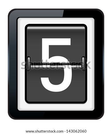Number 5 on a mechanical timetable - stock vector