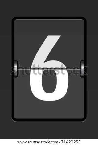 number  6 on a mechanical timetable - stock vector