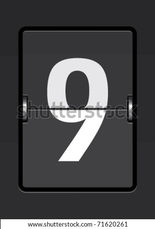 number  9 on a mechanical timetable - stock vector