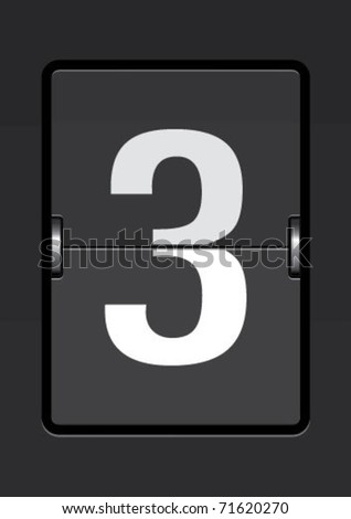 number 3  on a mechanical timetable - stock vector