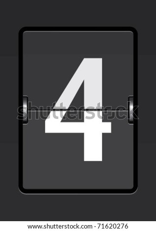 number 4  on a mechanical timetable - stock vector
