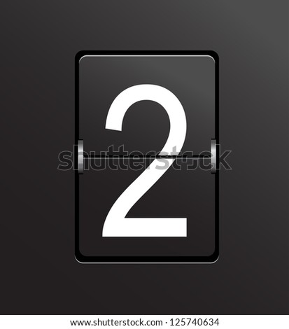 Number 2 on black panel background vector. - stock vector