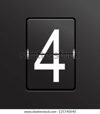 Number 4 on black panel background vector. - stock vector