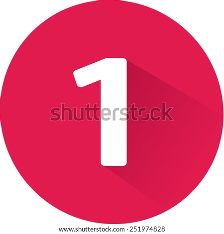 Number 1 on white background. Vector illustration - stock vector