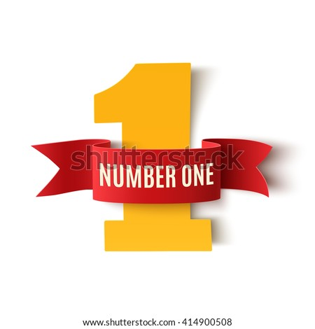 Number one background with white ribbon on white .Poster or brochure template. Vector illustration - stock vector