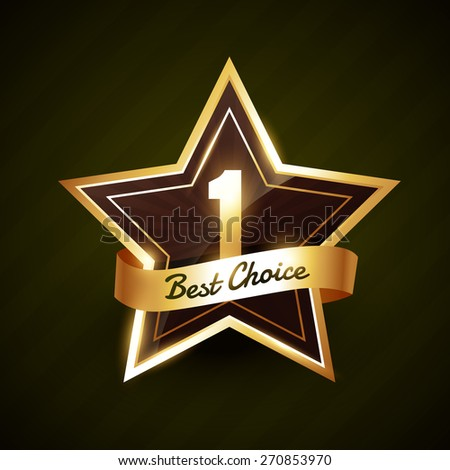 number one best choice golden label vector design illustration - stock vector