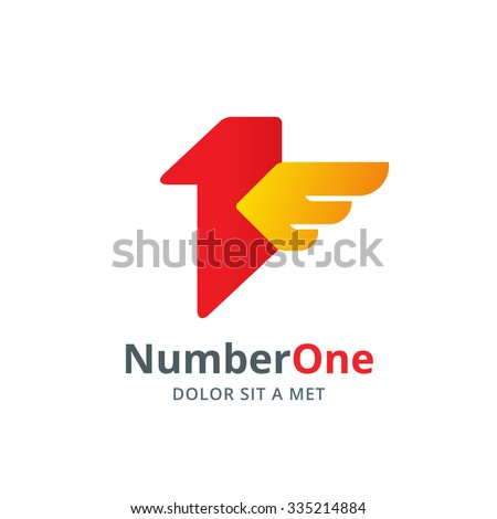 Number one 1 bird wing logo icon design template elements