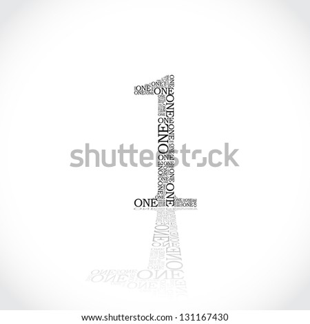 number one created from text - illustration - stock vector