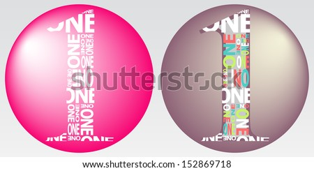 Number One Digit Filled with Word One. Vector Illustration - stock vector