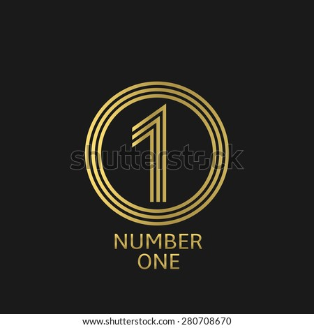 Number one, first place, golden logo,  award symbol. Champion, winner and leadership sign. - stock vector