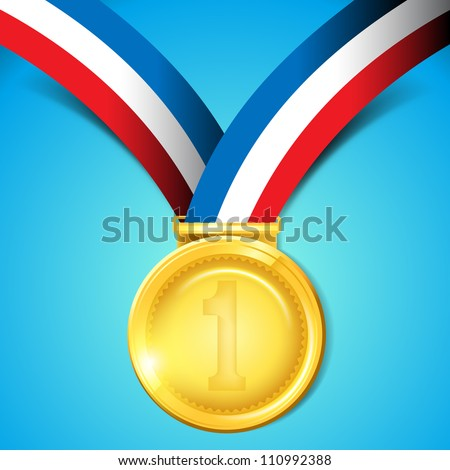 Number One Gold Medal - Vector Illustration