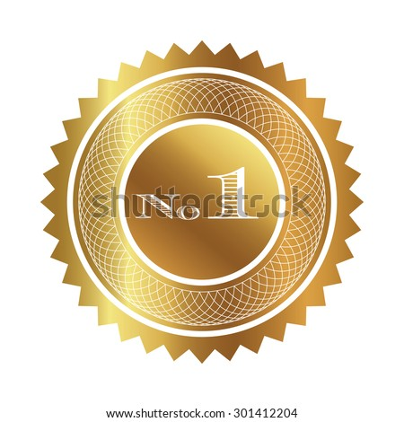 Number one gold seal  - stock vector