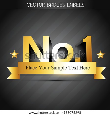 number one golden label design - stock vector