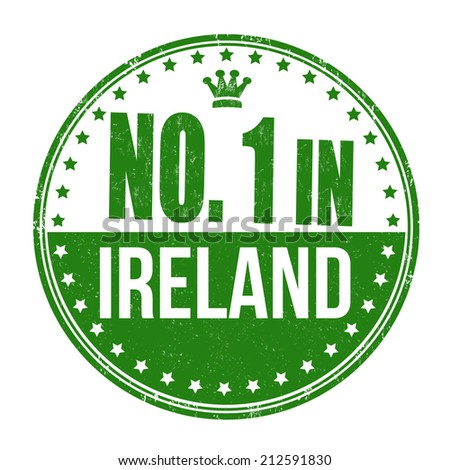 Number one in Ireland grunge rubber stamp on white background, vector illustration