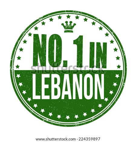 Number one in Lebanon grunge rubber stamp on white background, vector illustration