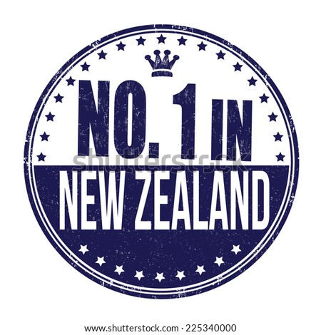 Number one in New Zealand grunge rubber stamp on white background, vector illustration - stock vector