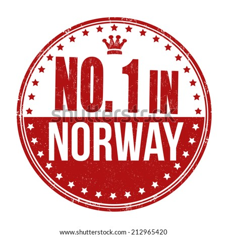 Number one in Norway grunge rubber stamp on white background, vector illustration - stock vector