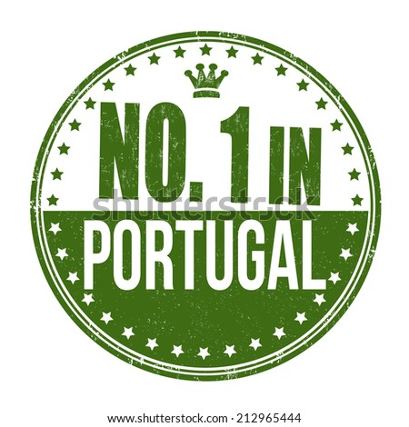Number one in Portugal grunge rubber stamp on white background, vector illustration - stock vector