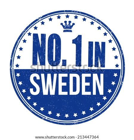 Number one in Sweden grunge rubber stamp on white background, vector illustration - stock vector