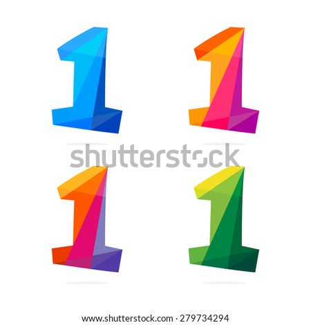 Number one in trendy polygonal crystal style, vector design template elements - stock vector