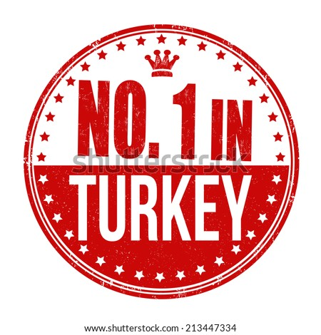 Number one in Turkey grunge rubber stamp on white background, vector illustration - stock vector