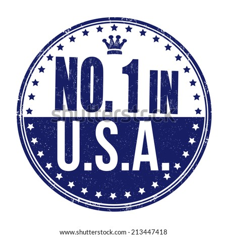 Number one in USA grunge rubber stamp on white background, vector illustration - stock vector