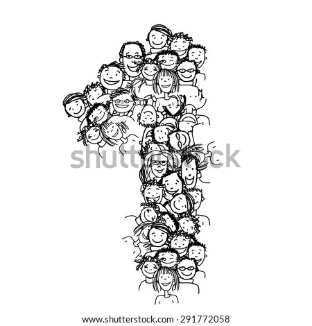 Number one, people crowd, vector alphabet for your design