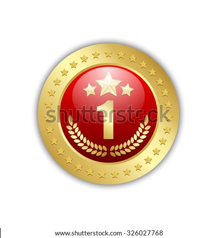 Number one quality badge placed on white background - stock vector