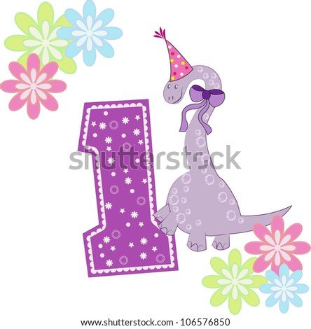 Number one with a dinosaur and flowers - stock vector