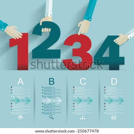 Number options template. Can be used for workflow layout, diagram, business step options. - stock vector