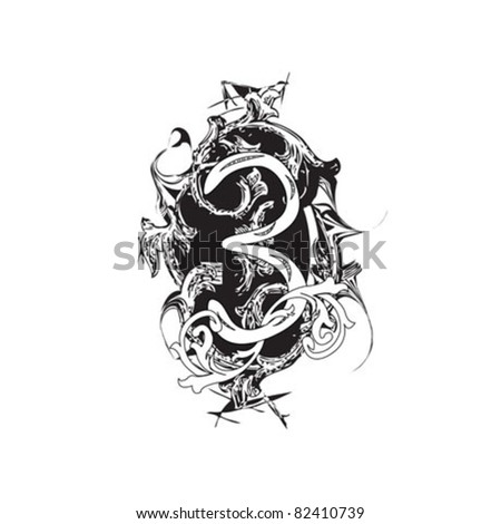 number 3 ornate - stock vector