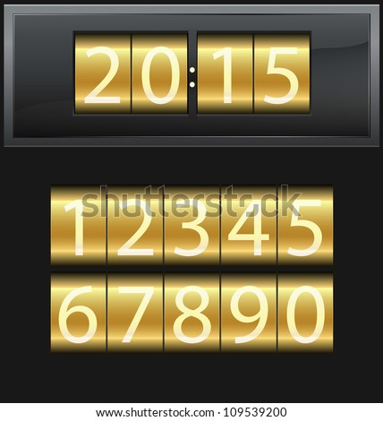 Number set from 1 to 9, digital clock, gold, vector illustration - stock vector