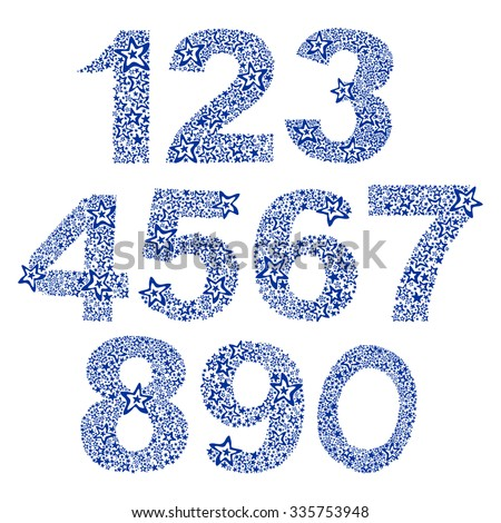 Number set made of stars. Number from 0 to 9 over white background. vector illustration  - stock vector