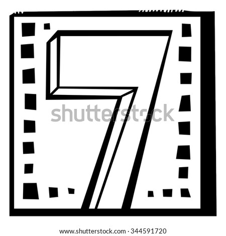 Number seven as abstract woodcut style pattern. Vector design element illustration - stock vector