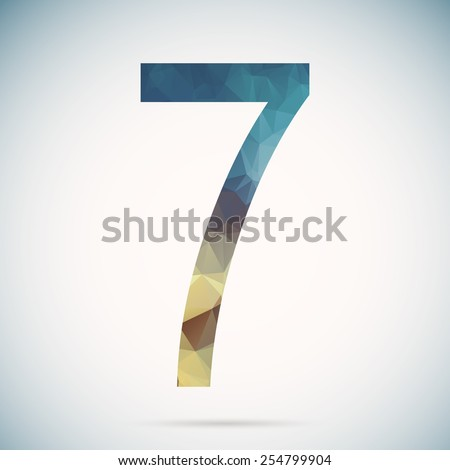 Number seven in modern polygonal crystal style - stock vector